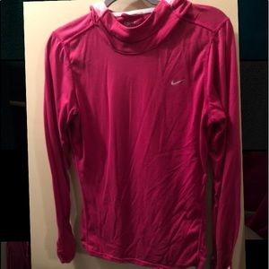 Pink Nike Running long sleeve with hood. Like new!